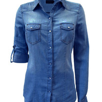 Denim Snap Shirt Dark Wash
