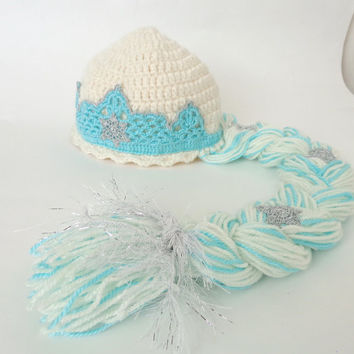 Elsa Frozen Crochet Hat  With Crown - Disney Princess Queen Hat Crochet Wig - Choose your color and size
