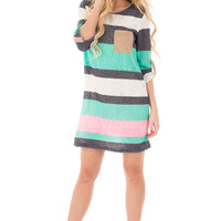 Mint Color Stripe Dress with Faux Suede Pocket