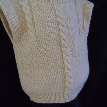 Hand Knitted Little Preschooler Vest Himalayan Alpaca Natural Wool Cable Knit Sleeveless Pullover Size 3 - 5 Desert Sand Color