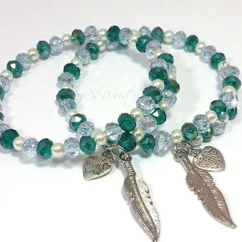 Teal, Sky Blue and Pearl Beaded Wire Feather Charm  Bracelet Alex and Ani Inspired Custom Handmade Jewelry