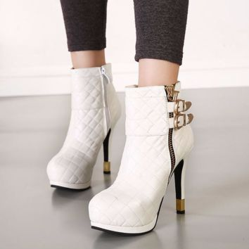 Stylish Patchwork Buckle Ankle Zip Bootie Heels
