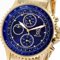 Konigswerk Mens Gold Tone Bracelet Watch Multifunction Blue Dial Crystal Markers AQ101091G