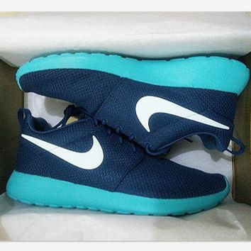 """NIKE"" Trending Fashion Casual Sports Shoes blue green white hook"