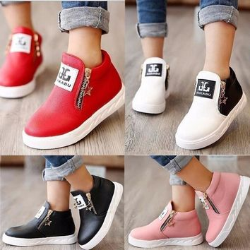 Fashion Boys Grils Kids Casual Ankle Boots Zipper  PU Leather Shoes
