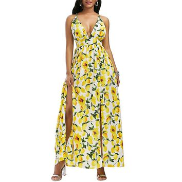 Lemon Print Split Backless Cami Maxi Dress