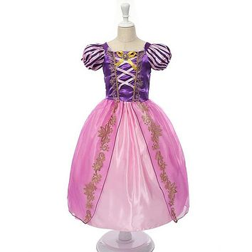 Girls Princess Summer Dresses Kids Belle Cosplay Costume Clothing