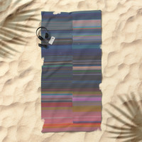 scanner stripes Beach Towel by duckyb