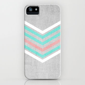 Teal, Pink and White Chevron on Silver Grey Wood iPhone & iPod Case by Tangerine-Tane