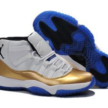 Cheap Nike Air Jordan 11 Retro Men Shoes White Gold Blue