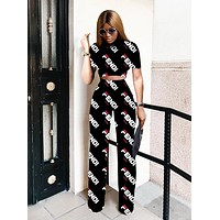 Fendi Summer New Fashion More Letter Print Top And Pants Two Piece Suit Black