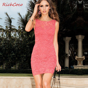 Sexy Bags Sleeveless Lace Skirt One Piece Dress [9022451972]