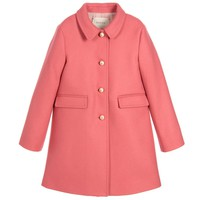Girls Pink Wool Coat