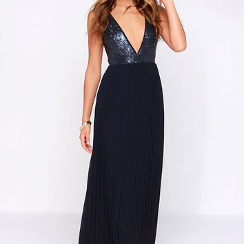 V-Neck Sequin Pleated Maxi Dress