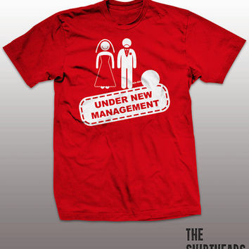 Funny Bachelor T-shirt - under new management, bachelor party gift, wedding, bride, groom, ball and chain, mens, stag, present, marriage