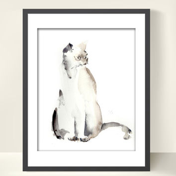 Cat Painting - Art Print from Watercolor Painting - Cat Art - Minimalist - Modern Wall Art - Watercolor Art