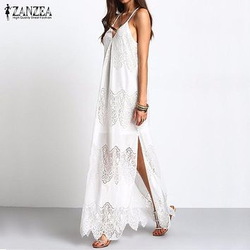 2018 Summer ZANZEA Bohemian Women Lace Beach Long Solid Dress Sexy Deep V Neck Strapless Backless Split Sleeveless Maxi Dress