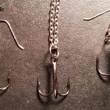 Hematite trihook set tackle fishing hook jewelry set. comes with earrings & necklace
