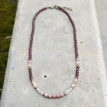 Garnet and Rose Quartz Delicate Necklace