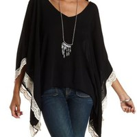 Combo Crochet-Trim Cold Shoulder Poncho Top by Charlotte Russe