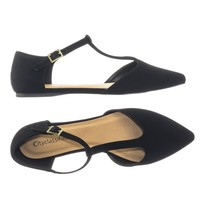Bryden by Classified Pointed Toe Flat w Double Open Side Shank D'Orsay T-Strap Pump