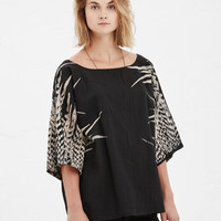 Totokaelo - UZI Black Exclusive Feathers Kimono Top - $142.00