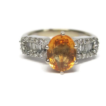 Vintage 90s 14K Orange Sapphire Diamond Ring Size 6