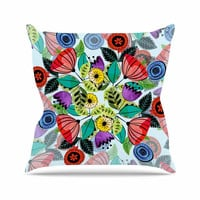 """Famenxt """"Fresh Spring Flowers"""" Multicolor Floral Throw Pillow"""