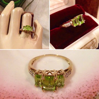 Designer 10k yellow gold Peridot & Diamond cocktail ring   Chuck Clemency designer gold ring               Size 8