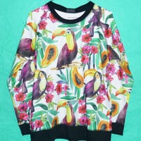 Bird Sweater floral orchid leave sweatshirt longsleeve papaya shirt women tshirt plumeria colorful forest floral Gift Ladies Size M/l