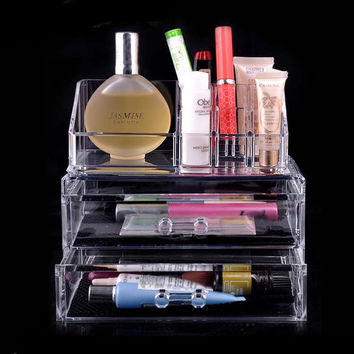2 Drawers Acrylic Clear Makeup Case Cosmetic Storage Holder Organizer Container