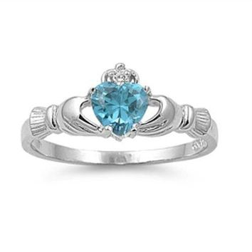 .925 Sterling Silver Blue Topaz CZ Claddagh Heart Ring Ladies and Kids Size 3-13