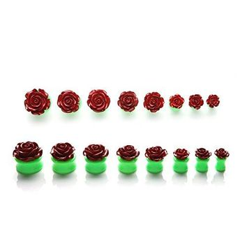 BodyJ4You Plugs Acrylic Maroon Red Green Flower Rose Earrings Stretching 00G 10mm Body Piercing Jewelry