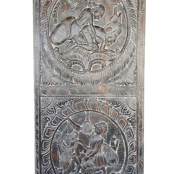 Vintage Kamasutra Hand Carved Sculpture Art, Barn Door Eclectic Bedroom Decor, Wall Hanging, Door Panel