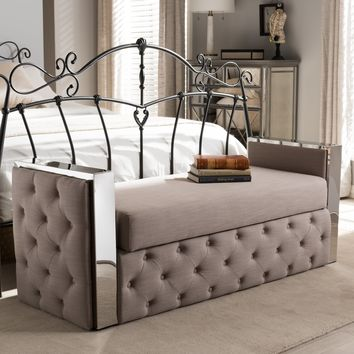 Baxton Studio Fiona Modern and Contemporary Stainless Steel Beige Linen Fabric Button-Tufted Storage Bed End Bench Set of 1
