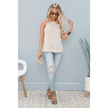 Marly Tie Back Tank Top (Taupe Multi)