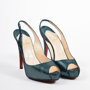 DCCK2 Christian Louboutin Turquoise and Black No Prive Slingback Pumps