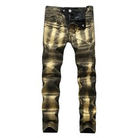Men's Fashion Zippers Silver Stretch Slim Men Pants Jeans [127702138909]
