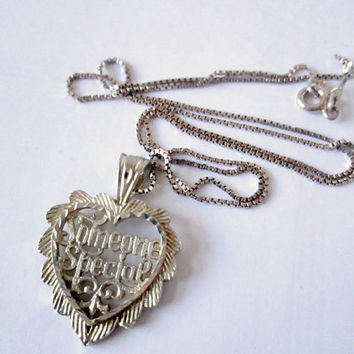 Sterling Silver Heart Someone Special Necklace Pendant and 18 Inch Box Chain Sweet Gift Diamond Cut Sparkling Detail