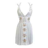 New VERSACE White Leather-trimmed studded plissé dress