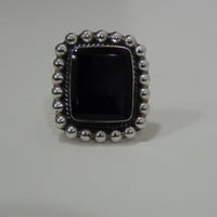 Square Onyx 925 Sterling Silver Cocktail Ring