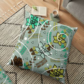 'Butterflies, flowers and beads' Floor Pillow by cocodes
