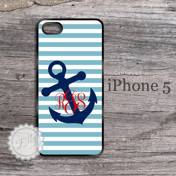 Personalized iPhone 5 Nautical Anchor and Stripe Preppy Monogrammed Case Apple Cover