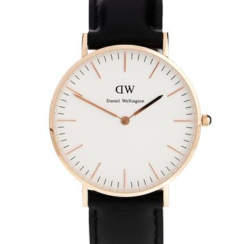 Daniel Wellington Classic Black Sheffield Rose Gold Rim Large Watch
