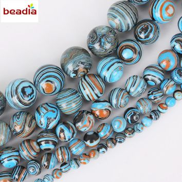 Diameters 4/6/8/10/12mm Hole 1mm 32-95pcs/bag Synthetic Blue Malachite Stone Beads For DIY Bracelet Necklace Jewelry Making