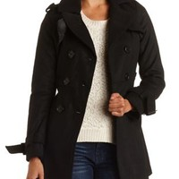 Pleated Wool Trench Coat by Charlotte Russe - Black