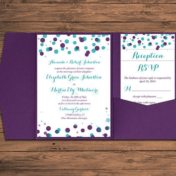 Wedding Pocketfold Invitation Set - Peacock Teal Eggplant Invitation Kit Deposit - Polka Dot Wedding Invitation Pocketfold Suite - WE PRINT