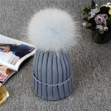Beanies. Silver Fox Fur Ball. Fabulous Quality, Warm!