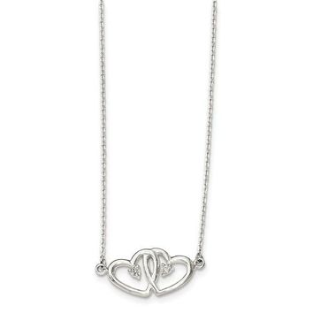 Sterling Silver Two Hearts Diamond Necklace