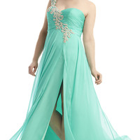 Long One Shoulder Sweetheart Gown